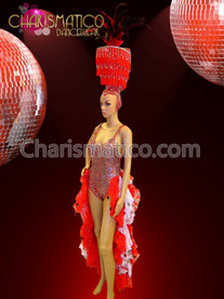 CHARISMATICO Red and white burlesque tail-skirt dress with matching fringe headdress