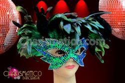 CHARISMATICO Iridescent lush Green feather and glittery sequin carnival eye mask