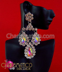 CHARISMATICO Triple iridescent crystal and rhinestone drop drag queen crystal earrings