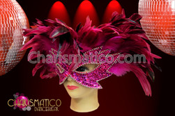 CHARISMATICO Fancy feathered and iridescent sequined vibrant Pink carnival eye Mask
