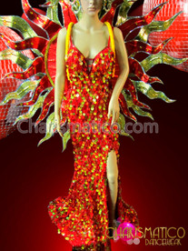CHARISMATICO Sun goddess drag queen pageant gown, backpack, and headdress costume