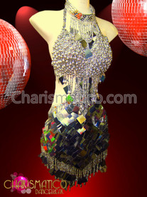 CHARISMATICO Diva's diamond sequin accented silver fringe cutout salsa dance dress