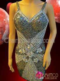 CHARISMATICO Fancy patterned silver sequin and black feather mermaid pageant gown