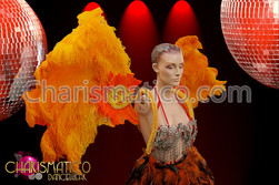 CHARISMATICO Cabaret two tone orange ostrich feather wing style collar backpack