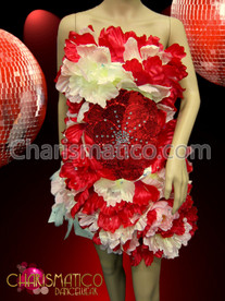 CHARISMATICO Red and white hibiscus flower accented studded satin feather dress