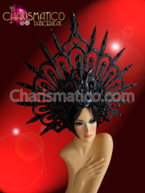 CHARISMATICO Evil halo styled glitter covered black spiky Gothic diva's headdress