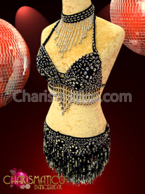 CHARISMATICO Silver beaded black dance bra and skirt with sequin fringe