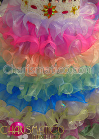 CHARISMATICO Tiered Pastel iridescent rainbow ruffle sissy skirt with matching top