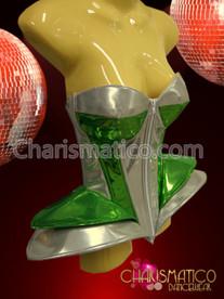 CHARISMATICO Silver and green metallic futuristic Lady Gaga inspired diva corset