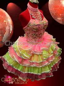 CHARISMATICO Sweet pink and yellow beaded dress with tiered ruffle skirt