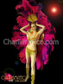CHARISMATICO Ostrich feather headdress and matching backpack in fuchsia and purple