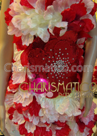 CHARISMATICO Short studded satin Red and white hibiscus flower Diva's dress