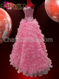 CHARISMATICO Embroidered Satin Corset Styled Iridescent Pink Organza Ruffled Mermaid Gown