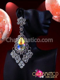 CHARISMATICO Large Rhinestone Diamond Cluster Drop Diva Earrings with Iridescent Crystal