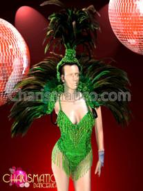 CHARISMATICO Three Piece Green Leotard, Collar and Headdress Brazil Samba Costume