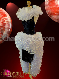 CHARISMATICO Black Latin Dance Dress with White Ruffled Collar and Skirt