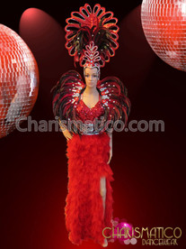 CHARISMATICO Red Feathered Pageant Gown and Cabaret Collar Backpack and Headdress
