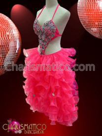 CHARISMATICO Side cutout Pink beaded Sissy Dress with organza ruffled skirt