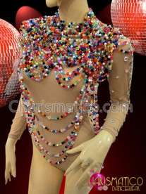 CHARISMATICO Large Collar styled high neck draped Diva's rainbow beaded necklace