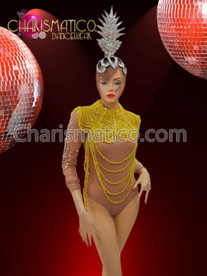 CHARISMATICO Nude Illusion Leotard, silver headdress, and Yellow beaded Diva Necklace