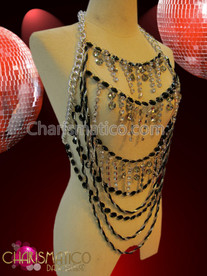 CHARISMATICO Beaded Black and Rhinestone crystal Harness style Showgirl's Bodychain Necklace