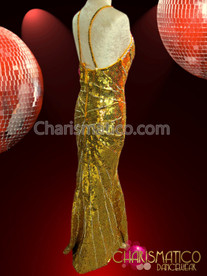 CHARISMATICO Floor-Length Gold sequin Diva's Pageant Gown with star burst detailing