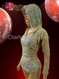 CHARISMATICO Diva's iridescent crystal studded Hooded Nude Illusion Jacket styled Leotard