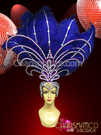 CHARISMATICO Rhinestone and Iridescent Crystal accented Royal Blue Showgirl's Ostrich Headdress