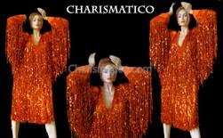 Orange Shiny Fringe long sleeve Dress