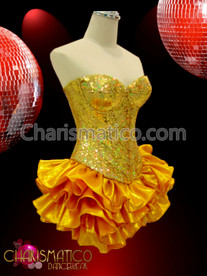 CHARISMATICO Showgirl's Chevron patterned gold sequined corset and shimmery ruffled skirt