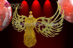 CHARISMATICO Large showgirl's Golden glitter, crystal and mirrors open wings backpack