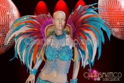 CHARISMATICO Blue beaded bra and belt with matching backpack costume set