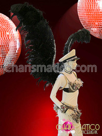 CHARISMATICO Exotic Crystal edged Raven Black feathered cabaret Diva's Angel wings