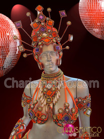 CHARISMATICO Funky bead and crystal Orange, purple, and white carnival headdress