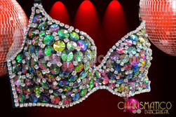 CHARISMATICO Sexy Rhinestone edged, black, darkly Iridescent beaded crystal showgirl's bra