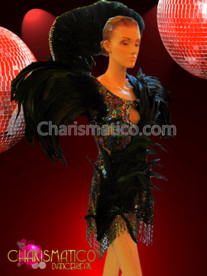 Drag Queen Iridescent rainbow Sequin with black feather accent mini-dress