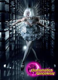CHARISMATICO Lady Gaga Silver vinyl Corset with Organza ruffled Tutu Skirt