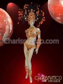Orange Samba costume and Headdress with white and purple accents