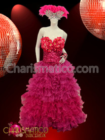 Fuchsia Flower accented Corset Ruffled Organza Drag Queen gown