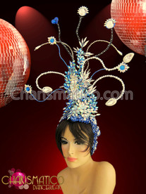 Diva's iridescent Blue and white crystal beaded and wired headdress