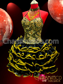 Corset styled black Sissy dress with yellow and gold trim