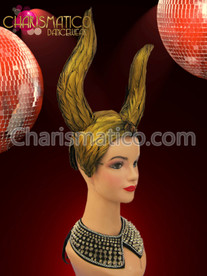 "Gold feather covered ""horn"" style Diva Showgirl drag queen headdress"