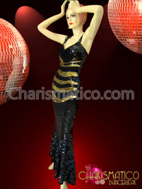 Drag Queen Diva's Black sequin Pageant gown with Gold stripes