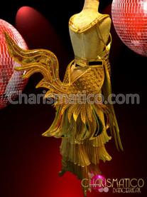 Warrior Rich gold Thai Bra and Belt with Phoenix Bird Tail