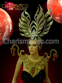Double Golden glitter swan headdress and golden beaded swirl collar