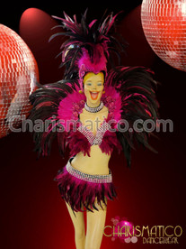 CHARISMATICO Rhinestone accented Fuchsia Feathered headdress, collar, bra, and belt-skirt set