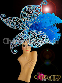 Light blue Butterfly headdress with ostrich feathers and iridescent crystals