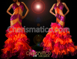 Fuchsia and Orange striped sequin gown with layered organza ruffles