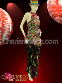 High neck Multiple Color sequin column gown with feathered skirt