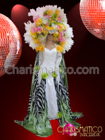 Drag Queen's Wheel style silver and white ostrich feather headdress